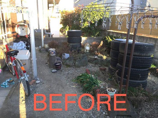 お客様のお庭。年月が経って、元々あった植木も枯れてしまい今は荒れて手入れが大変・・・