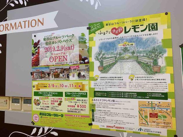 売店リニュアルオープンのチラシの隣には柴ちゃんが書いたレモン園の絵が!!!