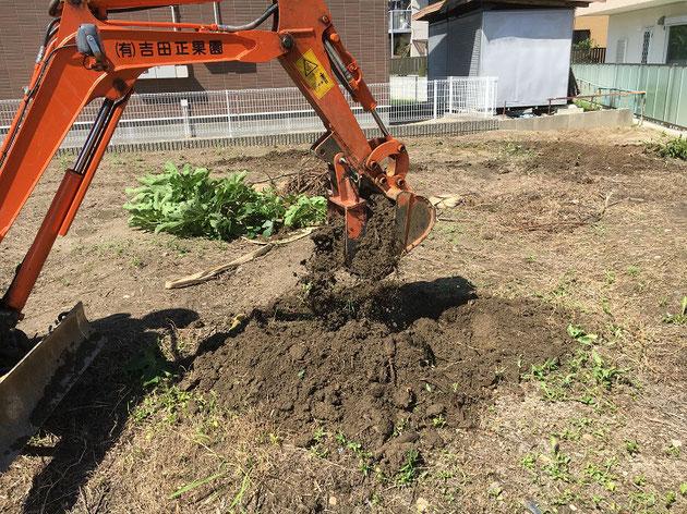 木を引っこ抜くだけでなく、土も掘れる!
