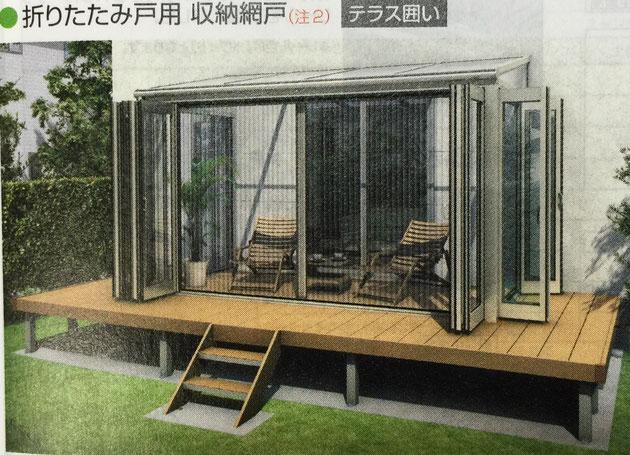YKKサンフィールⅢのオプションにある収納網戸