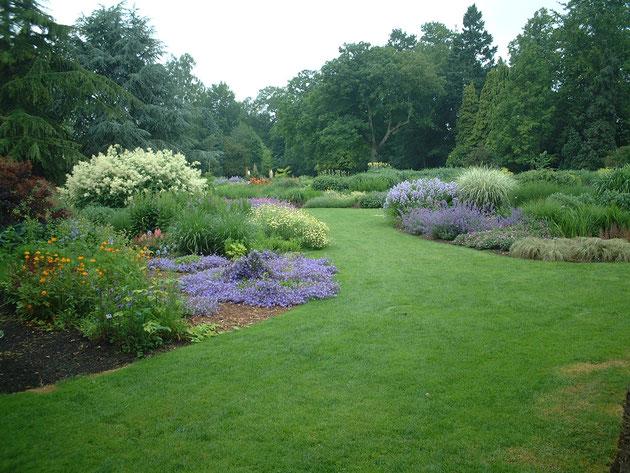 芝生がある事によって、見た目のグリーンの面積が大きくなるため他の色が栄える