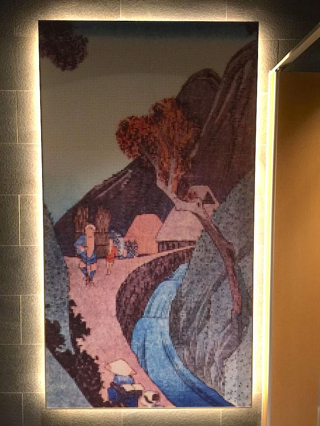 常滑イオンモールのトイレの中にあったモザイクタイルで描かれた浮世絵。素敵だ!