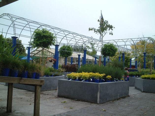 金属(ガルバリウム?)の花台 ポットとアーチの柱のブルーがスタイリッシュな印象のガーデンセンターを作り上げている