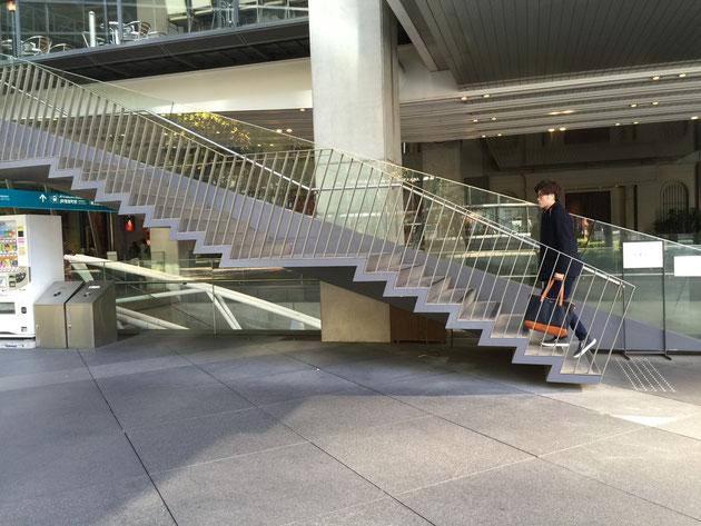 この階段のデザインも面白い。そして、手すりも。