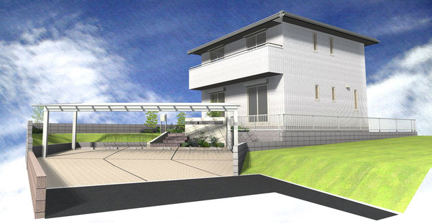 守山区M・H様邸 3台分のカーポートが映えるシンプルモダン外構 完成イメージパース