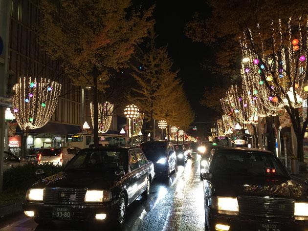 両脇の街路樹につるされた電飾。中には様々な色をした電飾があり、見た目も楽しい。