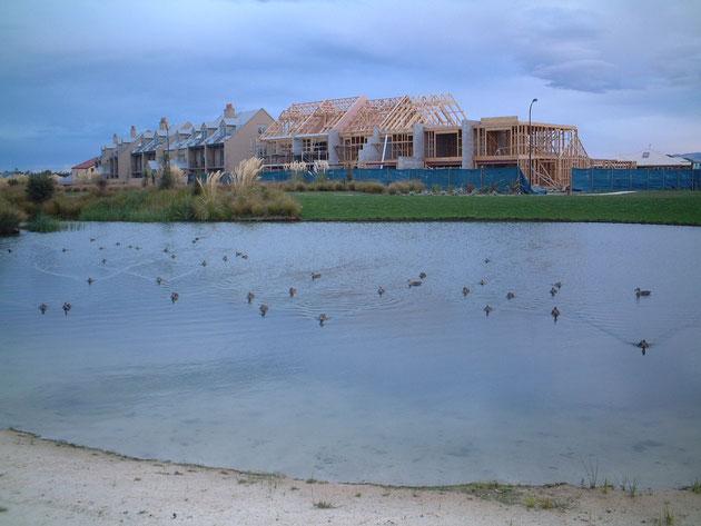 作りかけの家が見える ニュージーランドのニュータウン