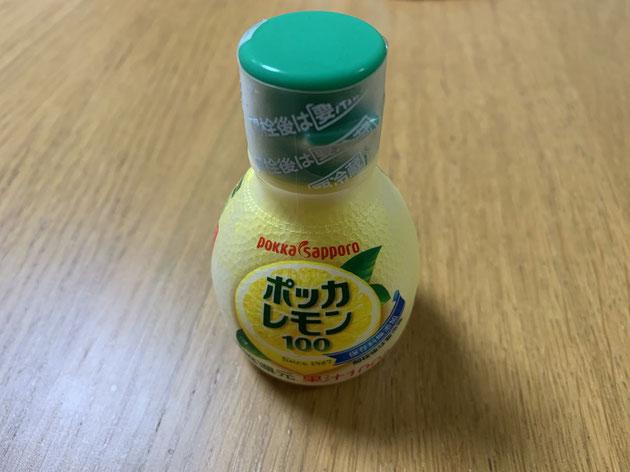ポッカレモン100をアロエの蜂蜜漬けに投入!