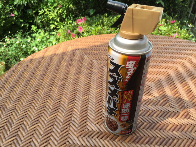 ドラッグストアで購入したスズメバチ用の殺虫剤。パワフルトリガー!強そうだ!!!