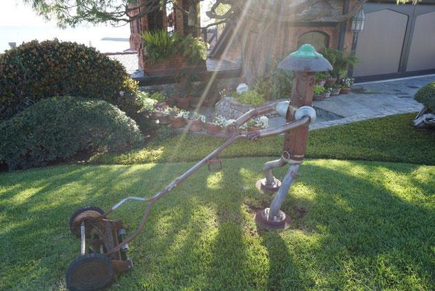 芝を刈り続ける消火栓アート これを辞めたら商売上がったりだが