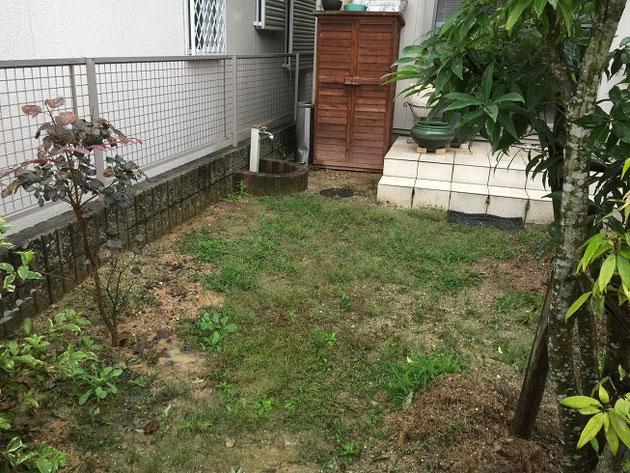 今回リフォームさせていただいたお庭部分。ココマとテラスは出来ていました。