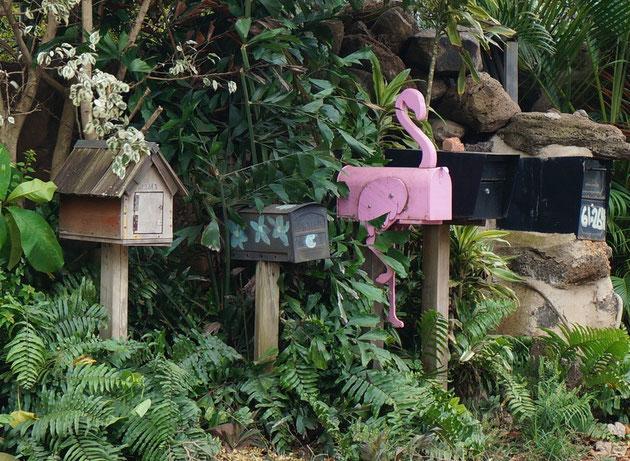 鬼太郎の家、花殻のアメリカンタイプ、フラミンゴ型のポスト