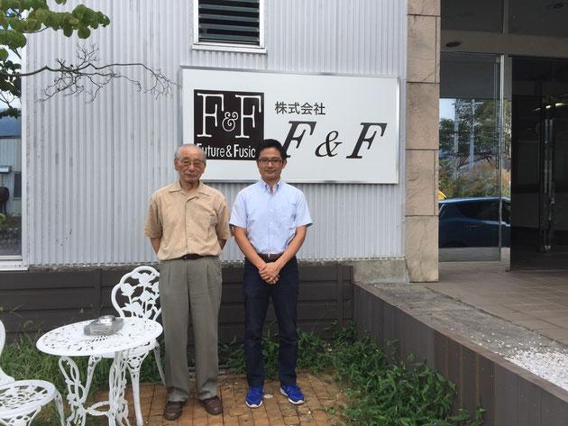 杉本会長と柴垣。スマートF・ウオールの開発段階からお話しさせて頂きました。