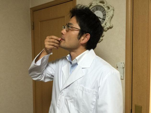 謎の赤い実を食べるガーデンドクター柴ちゃん。