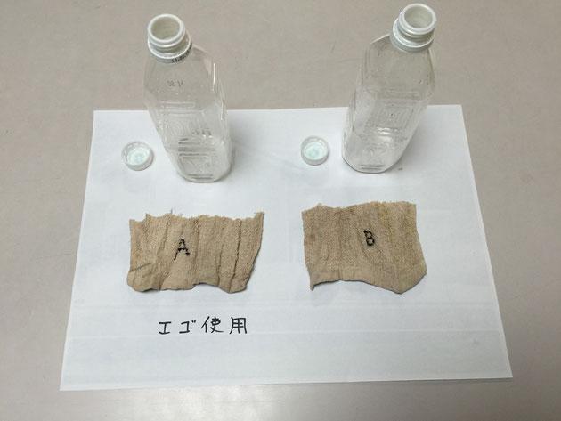 洗うのにペットボトルを用意。Aにはエゴ水を入れ、Bには水道水を入れた。