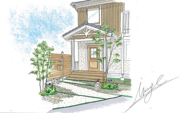 洗濯物の似合う北欧風庭 スウェーデンハウスのお庭・外構リフォーム施工例