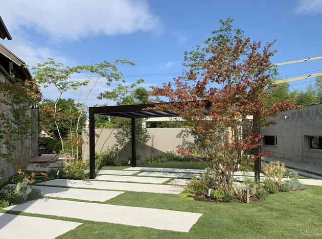植物とコンクリートとリレーリアで空間をつなぐ庭を作る