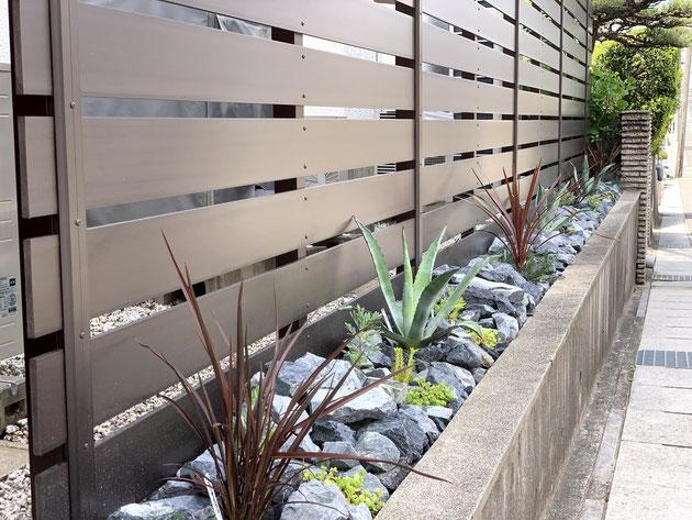 石と植物で手間のかかりにくいドライガーデンを作る!