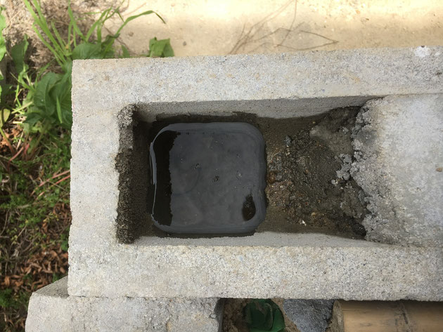 ほとんどの穴に、水が溜まっていました