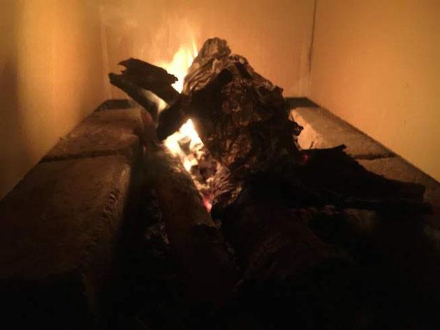 火はついた。薪に火が移り火力も大きくなった。段ボールが燃えないか心配。