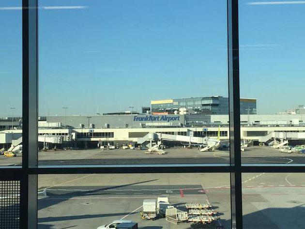 フランクフルト空港。意外と入国が厳しい。