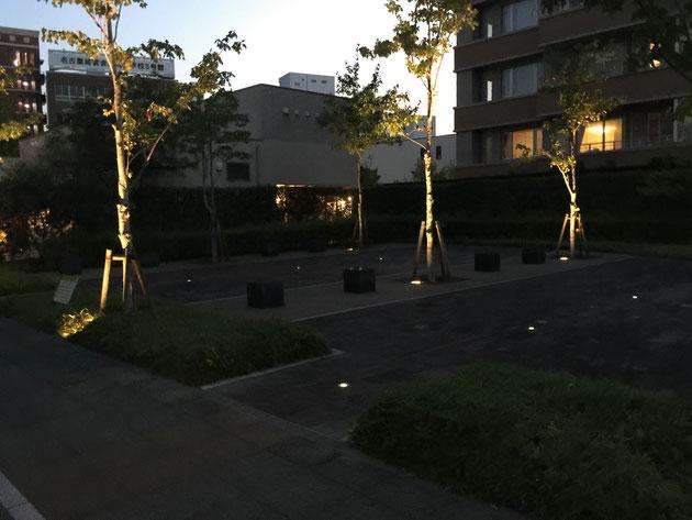 『道から始まる街づくり』をコンセプトに作られた名古屋セントラルガーデン。こんな公園スペースも店の間に設けられている。