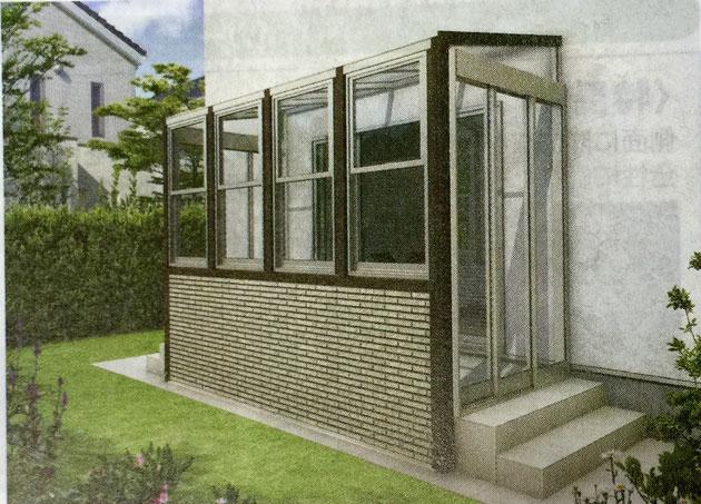 YKKさんのアウタールーフ。ガーデンルームタイプの側面開口部はガラスの3枚戸。