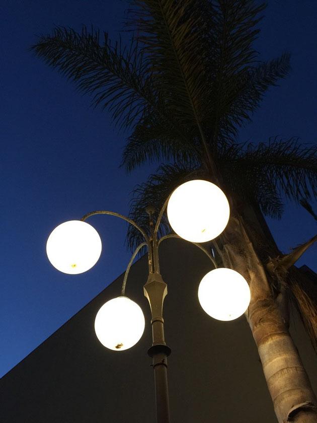 街灯のライト、アイアン部分と球体の正円の感じが良い。