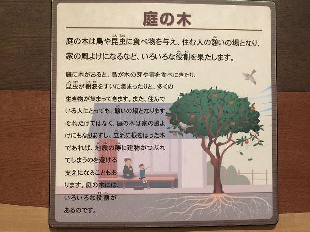 生命館にあった庭の木の説明