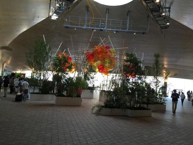 市民地球交流センターには花のモチーフが飾られていた。
