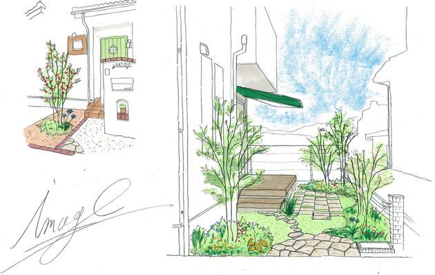 瀬戸市 K・T様邸のお庭パース図