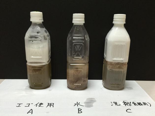 実験直後のペットボトルの様子です。AとCのペットボトルの中に泡があるのがわかる。