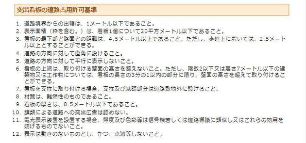 名古屋市ホームページのスクリーンショット。突出看板の許可基準。