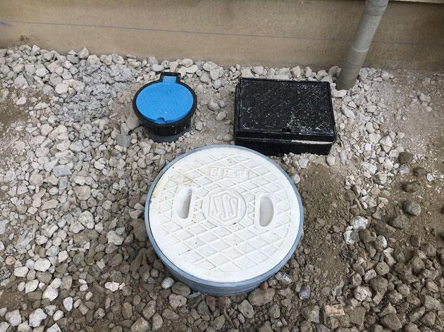 設備マス、散水栓、バルブボックスを交換しました