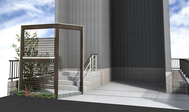 守山区 玄関前の縦の空間をLIXILの+Gを使い立体的にデザインすることで広く見せる 完成前パース図