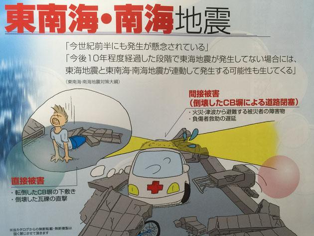 地震が起こると直接被害だけでなく倒壊したCB塀による間接被害もおこる!