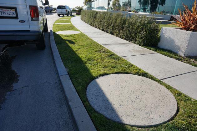 歩道の脇の植栽帯。これも家と同じ人が管理しなければいけない。