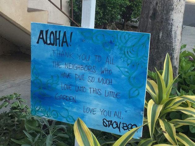 素敵なポケットパークにあった看板にある愛のメッセージ