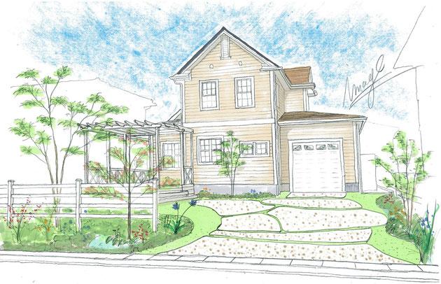 スマートな導線とお庭の一部を両立する為の洗い出しコンクリート床のデザイン。
