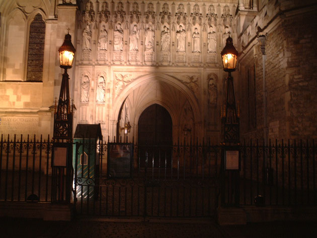 アイアンで出来た門柱の上にライトがあると言ったほうが良いデザイン