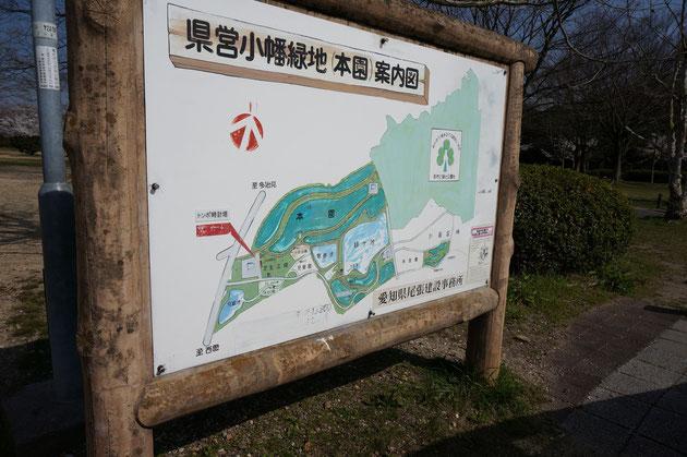 小幡緑地本園の案内図 大きな公園です