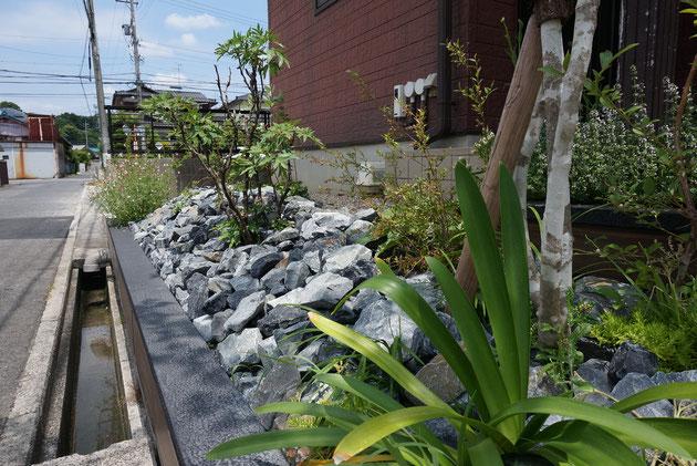 After 法面を防草シートと割栗石で押さえるが植物も忘れずに
