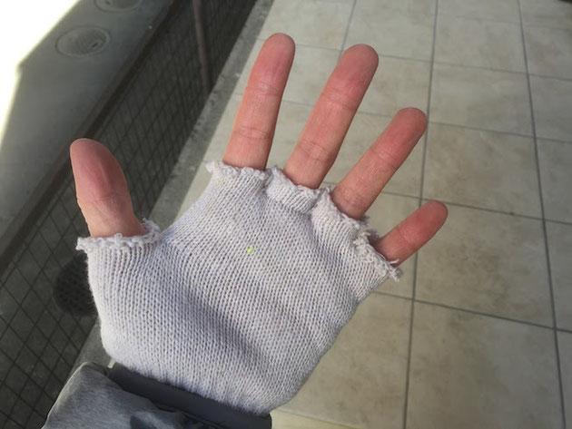 余りの寒さに急場こしらえした指無し軍手!めちゃくちゃ暖かい!