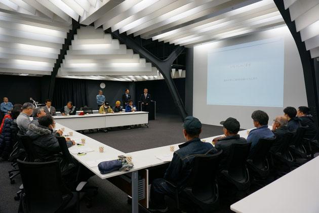もの凄く近代的なデザインの会議スペース。