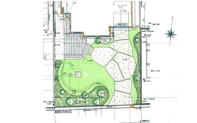 尾張旭市のアメリカンなお庭は、駐車スペースとお庭をかねるデザインを提案させていただきました。