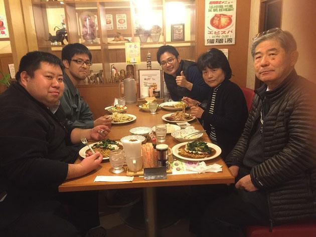 会議の後はパワーディナー!今回は弊社今村(今ちゃん)チョイスのあんかけパスタ!!!