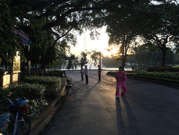 タイの公園で太極拳を舞うピンク色の服を着た女性