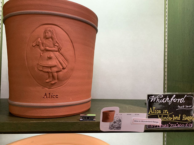 アリスの模様のついたウイッチフォードの植木鉢