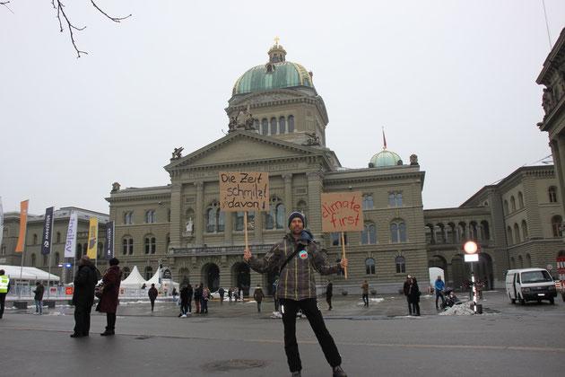 Linus am 2. Februar 2019 vor dem Bundeshaus, anlässlich des nationalen Klimastreiks