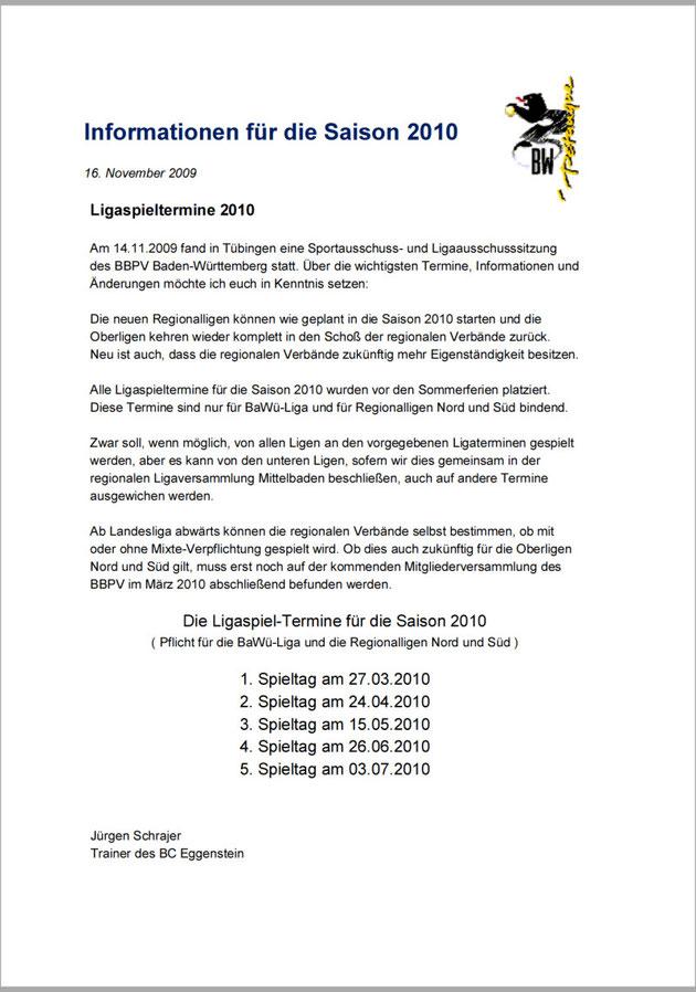 Termine für die Regionalliga 2010